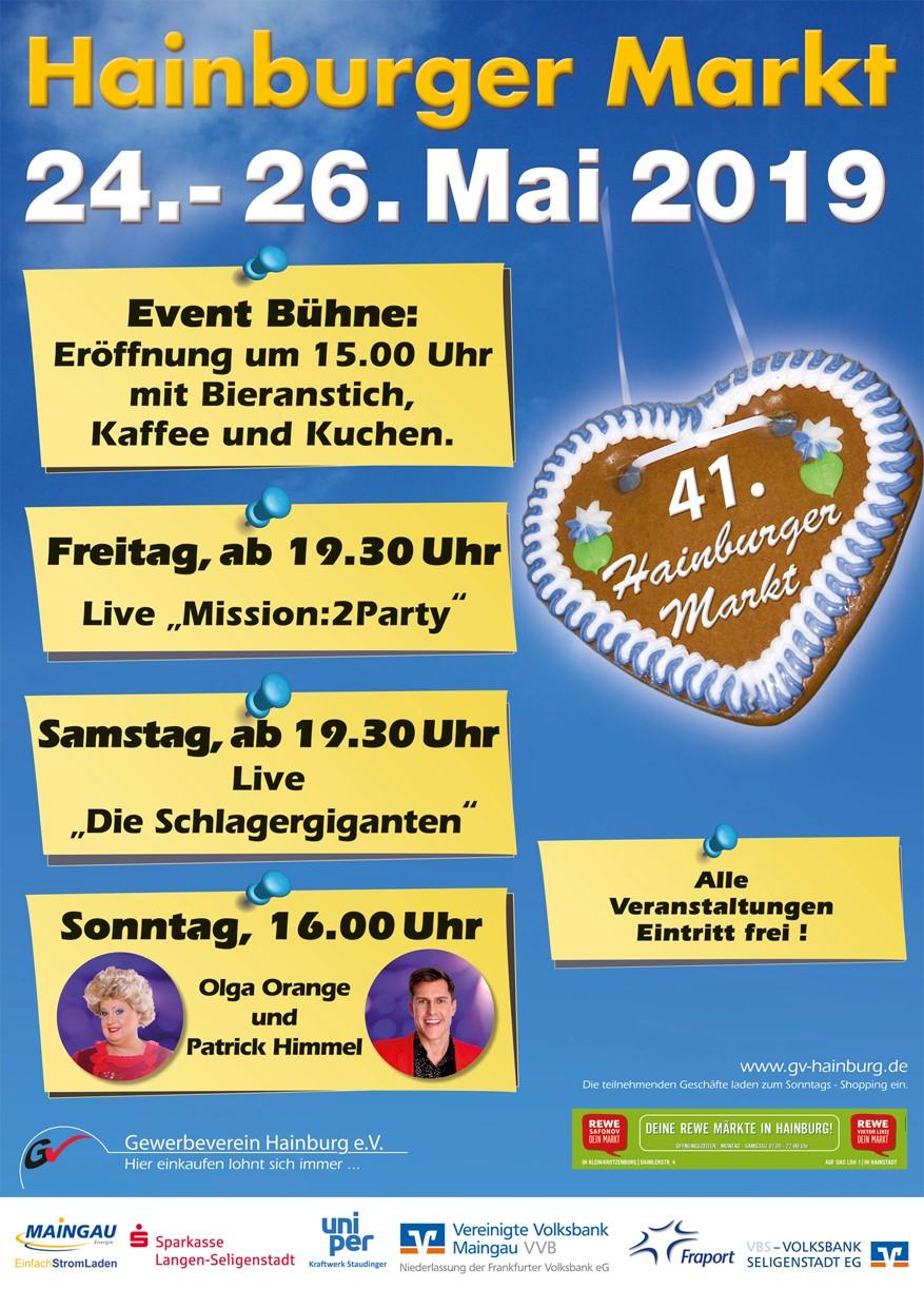 Plakat zum Hainburger Markt 24.-26.05.2019