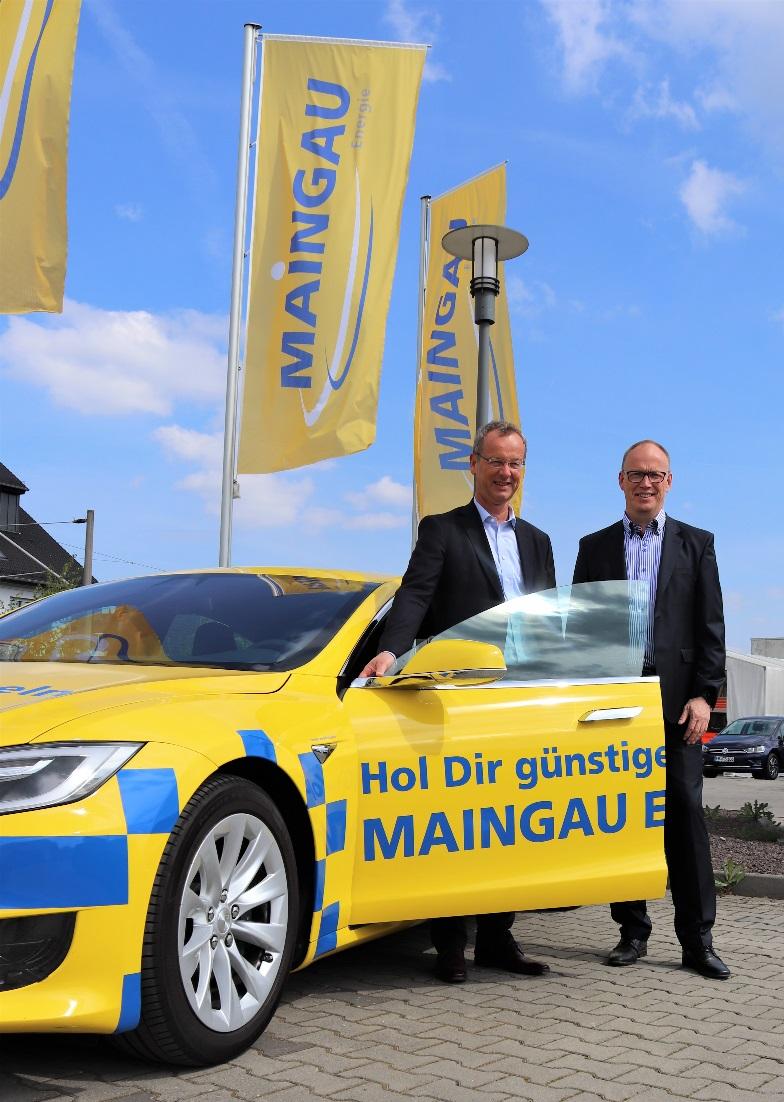 Geschäftsführung Maingau Energie / Elektromobilität | Richard Schmitz, Geschäftsführer. Rechts: Dirk Schneider, stellv. Geschäftsführer