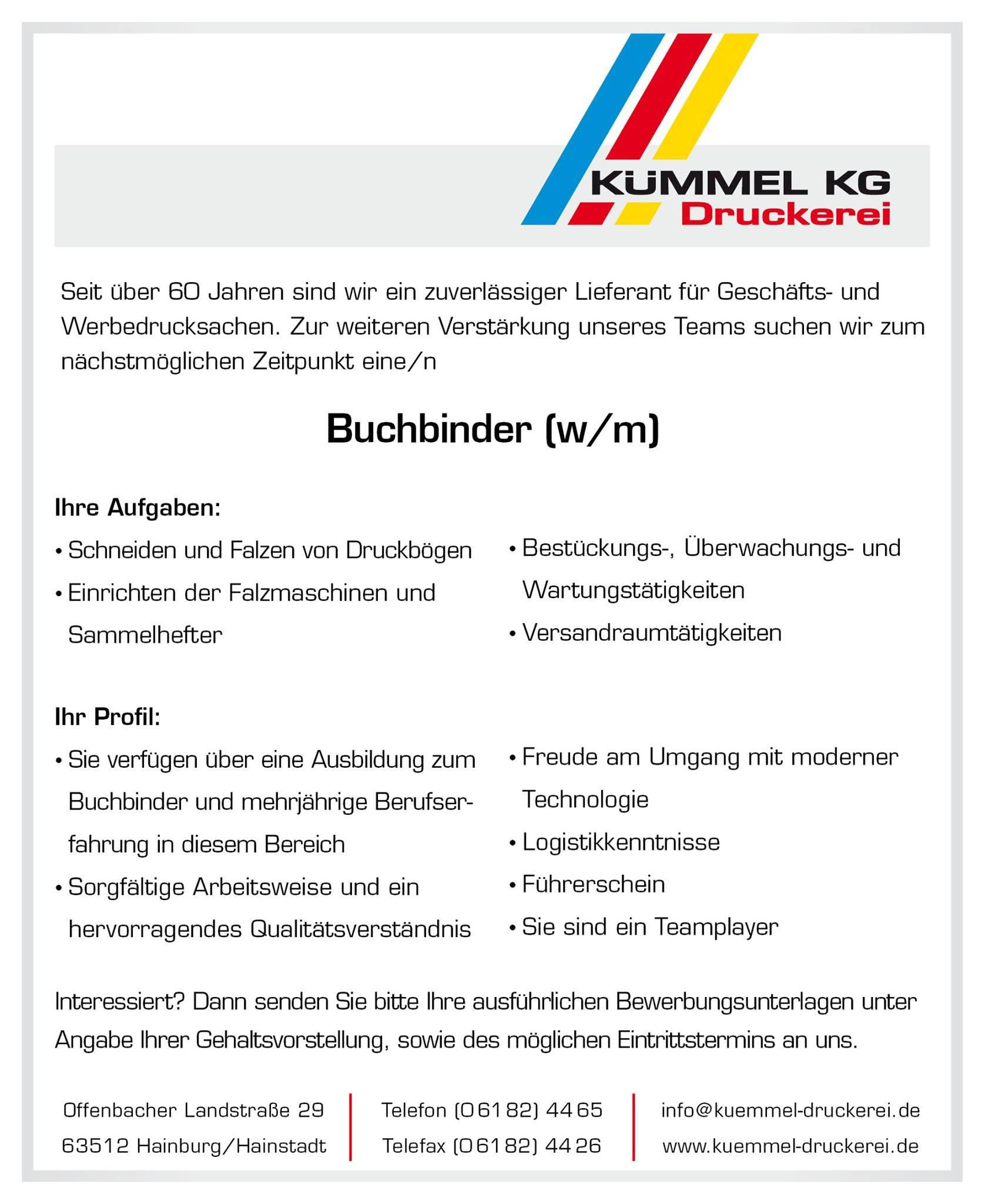 Kümmel KG - Stellengesuch Buchbinder
