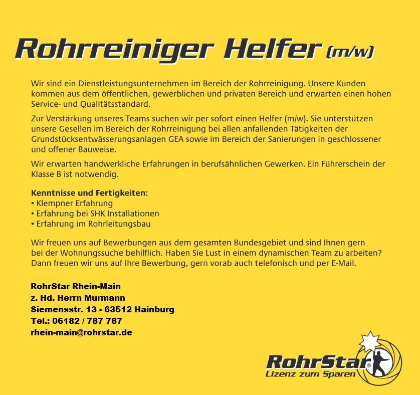 Rohrreiniger Helfer (m/w) gesucht